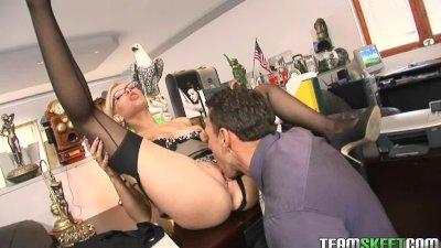 Teamskeet Sexy blonde Donna Bell office deepthroat anal sex