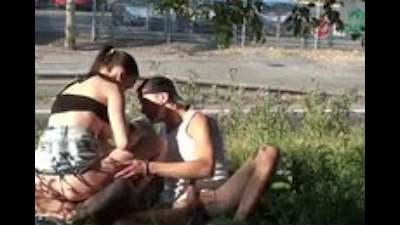 RISKY PUBLIC SEX street threesome PART 2