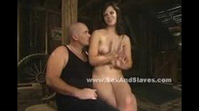 Slender hot lady dangling in violent sex