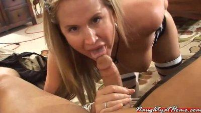 dirty milf wife desirae sucks off one of her members pov style