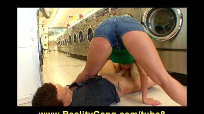 Super flexible blond Madison James rides dick at the Laundromat