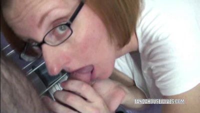 Redhead Layla sucking some balls and a stiff cock