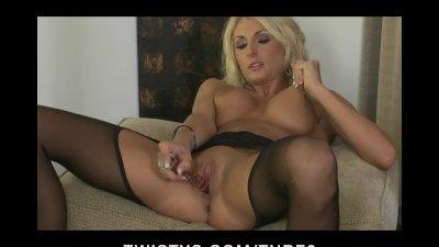 HOT blond MILF Alicia Secrets teases masturbates in stockings