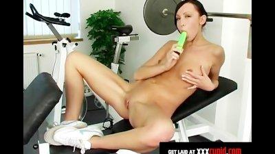 Brunette Exercises and Masturbates