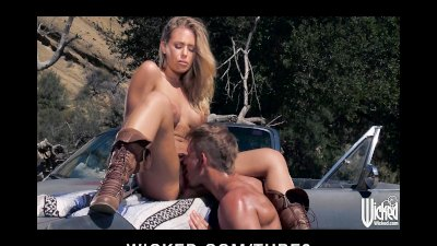 Hot blonde Nicole Aniston picks up a hitchhiker for roadside sex