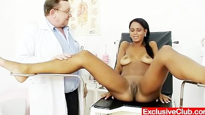 Weird gyno doctor checks hot latina pussy