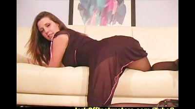 Erica in sheer nylon helps you jerkoff