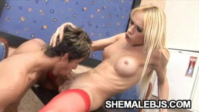 Blonde shemale is excited on hard dick