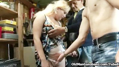 Lingerie blonde takes two dicks