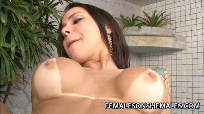 Latina shemale Taina Loussda fucking a woman by the pool