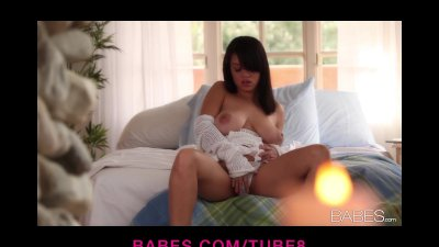 Stacey Rae massages her perfect pair of big natural breasts