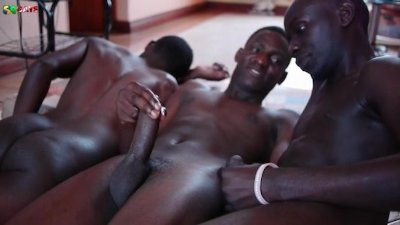 Three black african twinks cum together