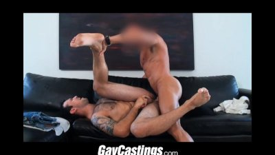 GayCastings tattooed hairy guy gets fucked on couch