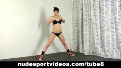 Sweet teen girl doing sports