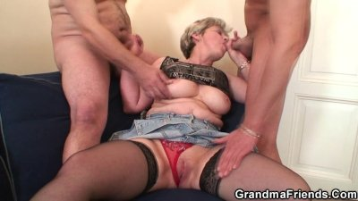 Old bitch takes two cocks afte