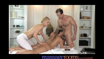 Massage Rooms Horny oiled sluts suck fat cocks and get fucked deeply