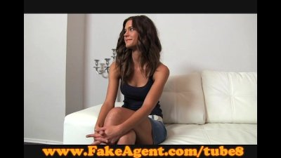 FakeAgent Shy brunette plays hard to get in casting