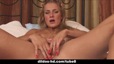 Dildo's and anal beads for this hot blonde
