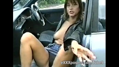 Milf is paid to show tits and panties