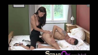 StrapOn Dominant babe pegging fella after sex gspot orgasm while he cums