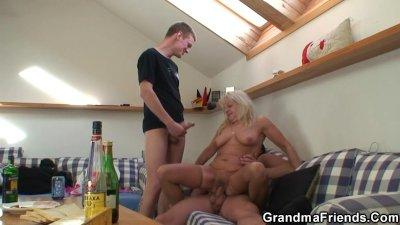 Drunk grandma sucks and rides