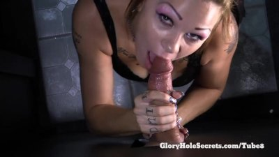 Gloryhole Secrets Shelby giving blowjobs to strangers and swallowing cum