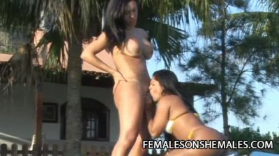 Agatha Duarte - Sexy Shemale Fucking Her Female Friend Outdoor