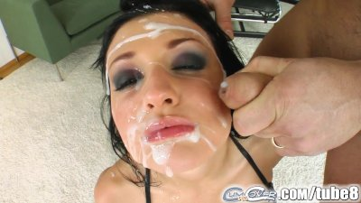 Aletta Ocean gets bukkaked by five massive loads of cum