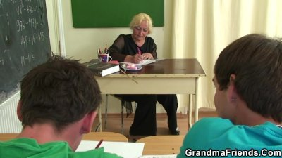 Two horny pupils bang old teacher