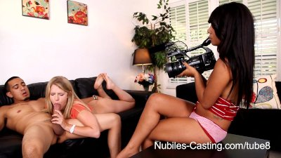 Nubiles Casting - Cum drips from her tongue onto her tits