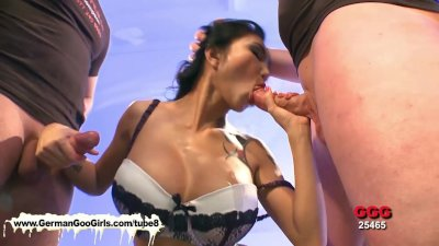 Busty Asian babe sucks and rides dicks