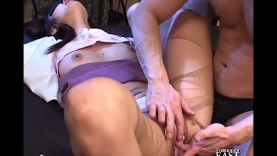 Japanese Girl Tied Up. Panty Hose Ripped Off, Pussy Fingered and Sucked