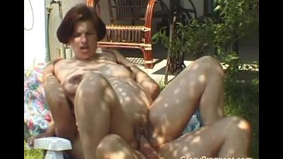 Horny pregnant gets hard cock in nature