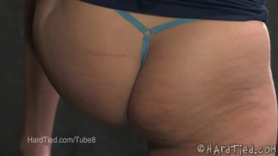 MILF in Glasses is Whipped While Bound