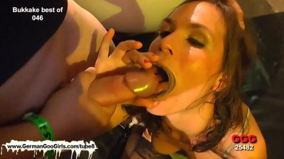 Elise is on her knees blindfolded sucking cock like a good girl
