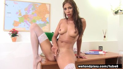 Wetandpissy Smoking milf partakes in self piss
