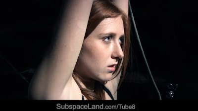 Blowjob Bondage Domination video: Restrained and punished redhead slave screams in pleasure