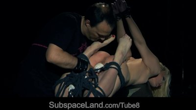 Blonde Lolita endures rough bondage submission with pleasure