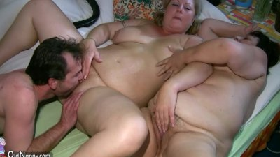 Old chubby Granny has massage from BBW mature Nurse