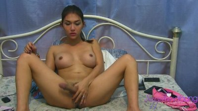 Sexy Asian Shemale Sapphire Young playing with her cock