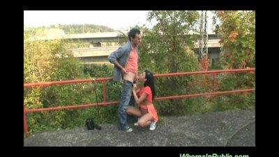 Brunette gets cock in public p