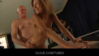 Old man licking fresh young pu