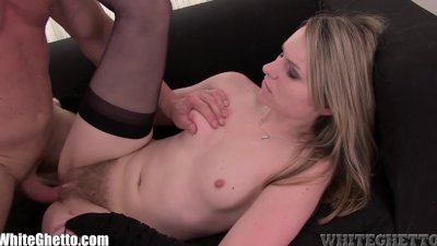 WhiteGhetto Blonde Hairy Pussy gets Creampied
