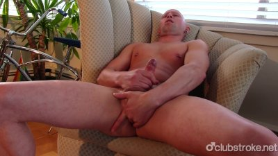 Bald Straight Guy Rob Masturbating His Big Prick