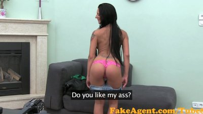 FakeAgent Tanned brunette amateur gets Jizz all over her silky smooth ass