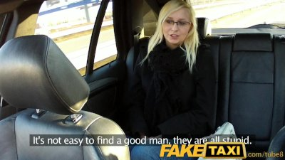 Camera Car Czech video: FakeTaxi Blonde with glasses gets talked into sex tape