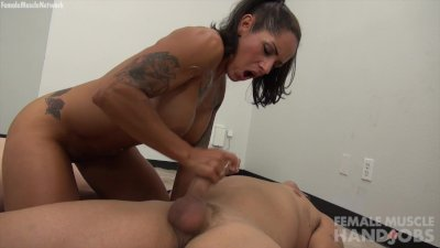 Muscle Girl Takes Bicep Cumshot
