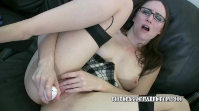 Cute coed Crystal Clark is plaing with her big dildo