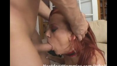 Redhead mom swallows cum from a big cock