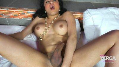 Latina Shemale Keira Verga in a poka dot skirt